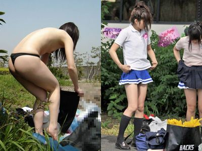 野外で着替える女を盗撮したエロ画像22枚 表紙