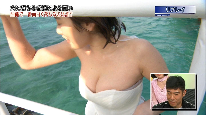 筧美和子のウェディングドレス姿の胸チラ谷間画像3