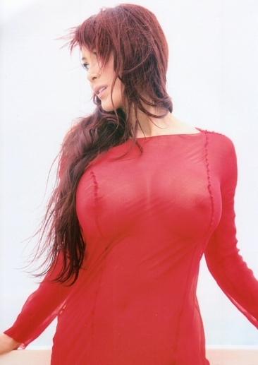 叶美香のスケスケ赤ドレス姿のヘアヌード画像3