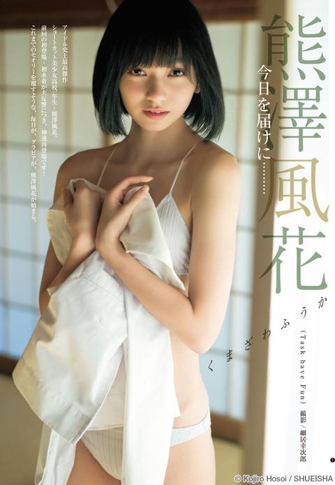 熊澤風花(16)の水着グラビア・タスクメンバーエロ画像70枚