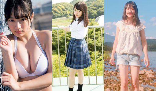 坂口風詩(18)の水着グラビアの巨乳JK胸チラ谷間画像40枚