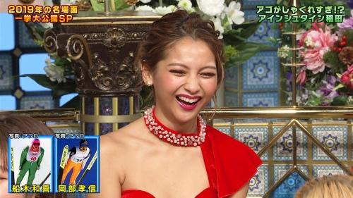 ゆきぽよの『踊る!さんま御殿!!』赤ドレス姿のパンチラ、胸チラエロ画像002