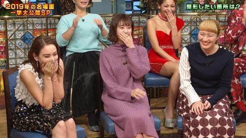 ゆきぽよの『踊る!さんま御殿!!』赤ドレス姿のパンチラ、胸チラエロ画像007