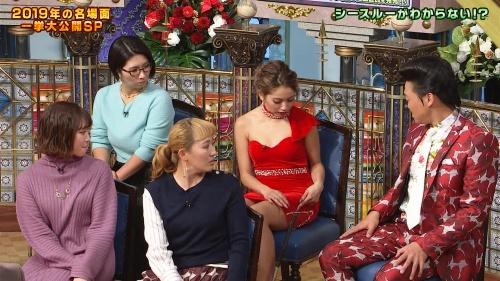 ゆきぽよの『踊る!さんま御殿!!』赤ドレス姿のパンチラ、胸チラエロ画像019