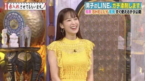 鷲見玲奈アナの黄色衣装の着衣おっぱいエロ画像004