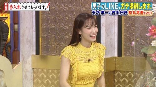 鷲見玲奈アナの黄色衣装の着衣おっぱいエロ画像020