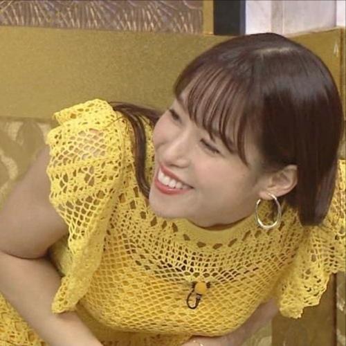 鷲見玲奈アナの黄色衣装の着衣おっぱいエロ画像023