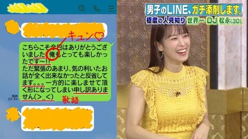 鷲見玲奈アナの黄色衣装の着衣おっぱいエロ画像025