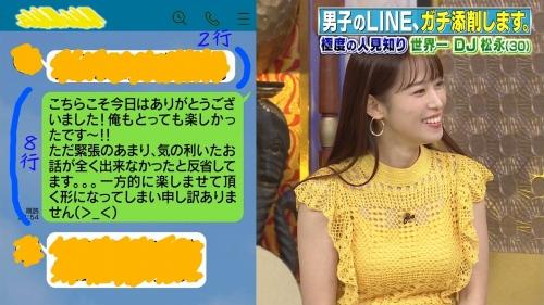 鷲見玲奈アナの黄色衣装の着衣おっぱいエロ画像026