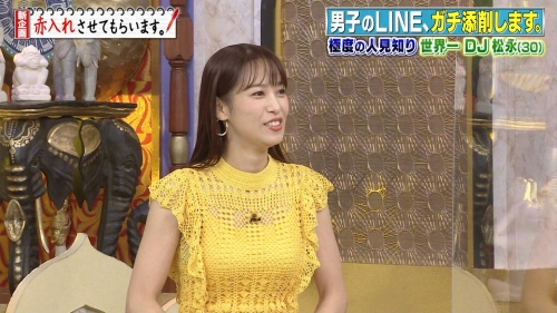 鷲見玲奈アナの黄色衣装の着衣おっぱいエロ画像027